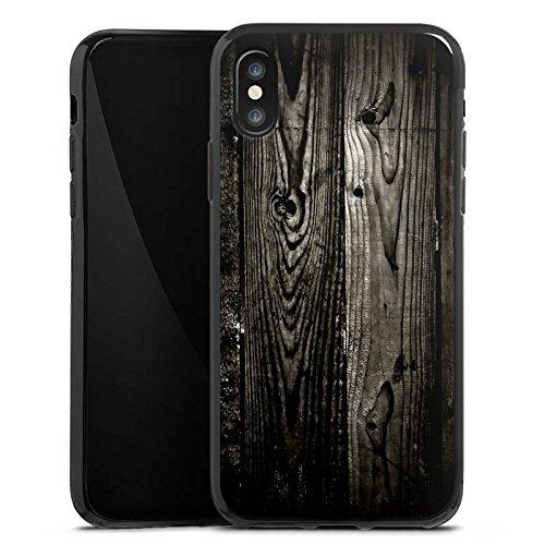 Apple iPhone X Silikon Hülle Case Schutzhülle Ebenholz Look Holz Schwarz Holzwand Silikon Case schwarz
