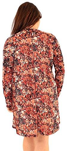 Chocolate Pickle ® Nouveaux Femmes Grande Taille animal imprimé floral manches longues Robe trapèze Blossom