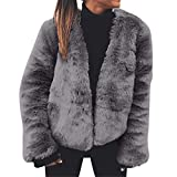 TWBB Damen Mantel Winter Outwear Elegant Warm Faux Fur Kunstfell Jacke Kurz Strickjacke Coat
