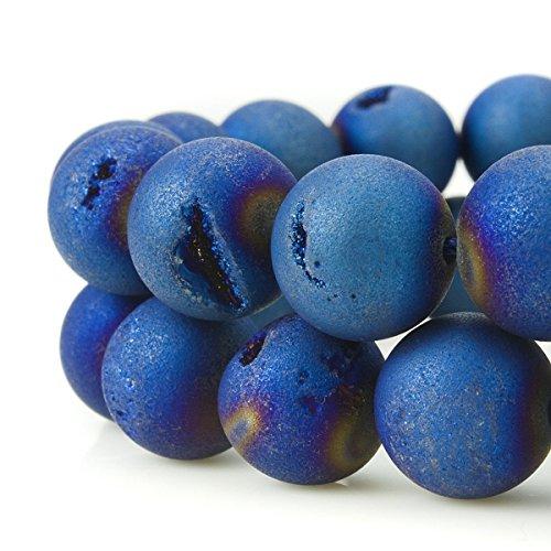 galvanisch Druzy Achat Quarz Kristall Edelstein Perlen, blaumetallic, 12 mm (Mini-strand Bälle In Bulk)