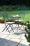 Greenhurst 2 Seater Metal Elegant Versailles Folding Patio Set with Round Bistro Table in Antique Grey Finish
