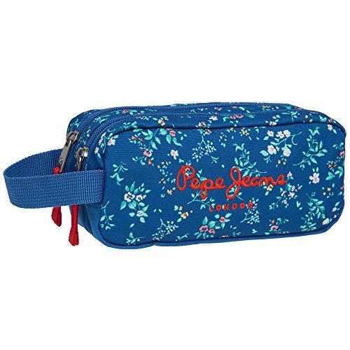 Pepe Jeans Estuche 2 Compartimentos, Flores, Color Azul