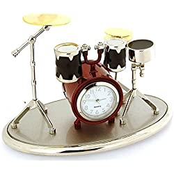 Miniature Drum Kit Novelty Silver, Red & Black Tone Metal Collectors Clock 0341