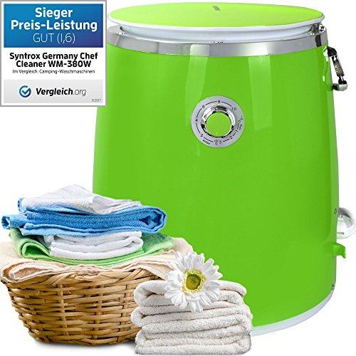 Syntrox Germany 3 Kg WM-380W Waschmaschine mit Schleuder Campingwaschmaschine Mini Waschmaschine (Grün)