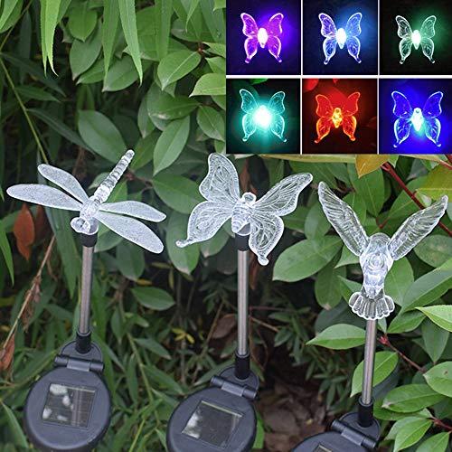 TIM-LI Solar-gartenleuchten Im Freien, Bunte LED-dekorative Grundbeleuchtung, Schmetterling, Libelle, Fliegender Vogel, 3 Packungen