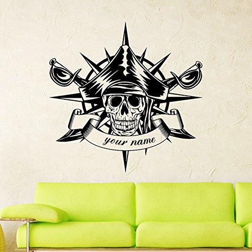 sswymx Schädel Halloween Kompass Schwerter Piraten Aufkleber Punk Tod Aufkleber Teufel Poster Name Wandtattoos Parede Decor Wandbild58 * 58 cm