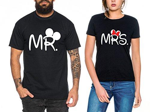 Mr Mrs Partnerlook camiseta de los pares dulce para parejas como regalos, Colour:Schwarz;Paar Shirts Größen:Mujer tamaño L + Hombre tamaño L