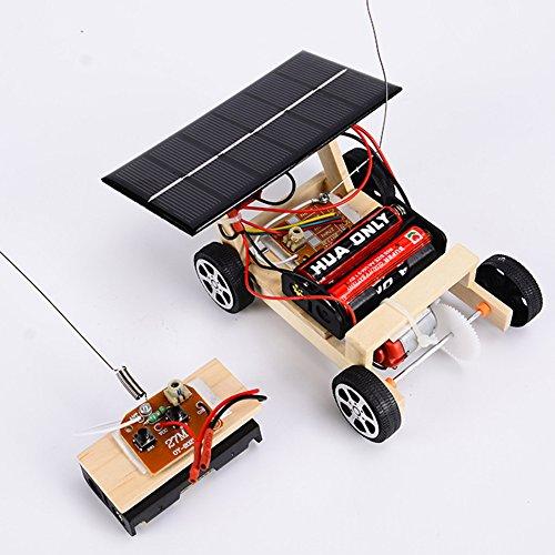 Faironly - Puzzle de Madera para Montar en el Coche, Funciona con energía Solar, Juego de Juguetes para niños, Color Madera cruda