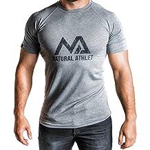 Natural Athlet Fitness T-Shirt Meliert - Herren Männer Kurzarm Shirt Optimal für Fitnessstudio, Gym & Training - Passform Slim-Fit, Rundhals & Tailliert - Sport & Freizeit