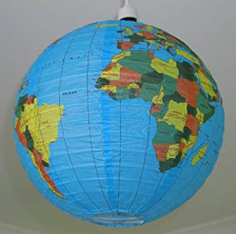 Blue Globe Earth World Print Paper Hanging Lampshade