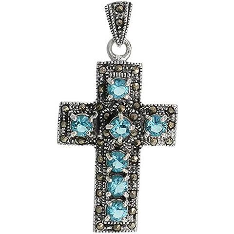 In argento Sterling e Marcasite, con pendente a croce latina, taglio a brillante, 5 mm, con topazio blu e zirconi cubici, 1 11/(16 40,64 cm (43