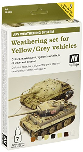 Vallejo 078405 Farbset, Alterungsset für Fahrzeuge, Gelb/Grau, 7x8 ml