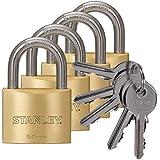 Stanley S742-039 - Pack de 4 candados macizos de con arco estándar, 5 llaves (latón, 50 mm)
