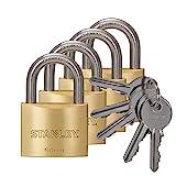 STANLEY Solid Brass Vorhangschloss 50 mm mit Standard-Bügel, 4er Pack, gleichschließend, 5 Schlüssel, S742-039, Schloss, Bügelschloss