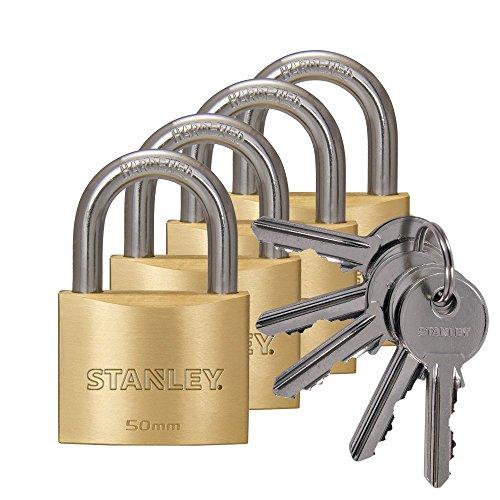 STANLEY Cadenas laiton solide 50 mm anse standard, 4-Pack, clés uniques, 5 clés, S742-039