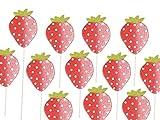 meindekoartikel 12 Erdbeere Holz am Stab Rot 5x7/26cm