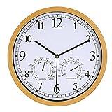 LENRUS 12 Zoll Wanduhr mit Thermometer und Hygrometer und Lautlosem Quarz Uhrwerk, Gartenuhr aus Kunststoff