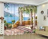 XFKL Moderne fenêtre rideaux décoration de la maison Polyester tissus pour rideaux salon 3D Balnéaire paysage fenêtre traitement balcon , 142*98 inch...