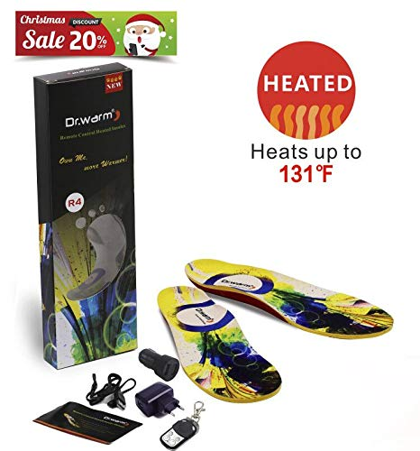 ERGOfoot Dr.Warm Sport beheizte Einlegesohlen mit USD-Aufladung Drahtlose Fernbedienung warm für Ihren Fuß(Mittel)