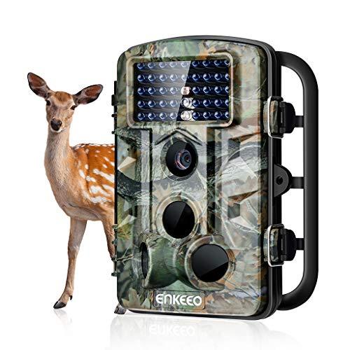 ENKEEO - 12 MP Camera de Chasse 1080P HD, 42pcs IR Leds de 940nm, 65 pieds / 20 m,Grand Angle de 120° Trail Camera Chasse Résolution, 0.2s Temps de Déclenchement, Vision nocturne, Étanche, 11 Langues