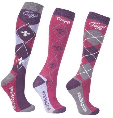 William Hunter Equestrian Toggy Damen Socken mit Karomuster, mit Frotteesohle, 3er-Pack, Marineblau oder Pink deep pink