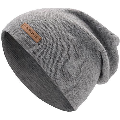 urban air | Street Classics | Slouch Beanie, Mütze, mit Lederpatch | Damen, Herren | für Das Ganze Jahr, weicher Stoff | in hell grau