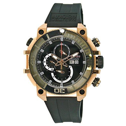 Nautec No Limit Herren-Armbanduhr XL Seabridge Chronograph Quarz Kautschuk SB-RBRGIPBK-BK