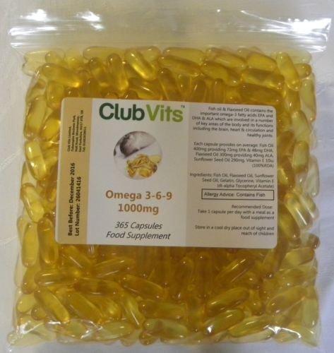 Club Vits Oméga-3 6 9 1000mg - 365 capsule fermeturesac scellé