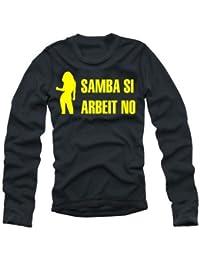 Coole-Fun-T-Shirts T-shirt à manches longues avec inscription SAMBA SI ARBEIT NO Noir/jaune