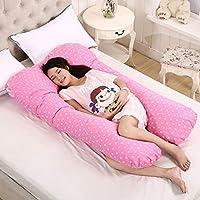 AFQHJ Full body U-shaped side pillow pillow pillow, cotton washable U-shaped nap pillow, comfortable maternity pillow (70 cm × 130 cm) (Color : Pink)