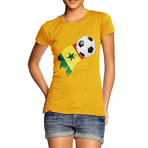 TWISTED ENVY Womens Funny T Shirts Senegal Football Soccer Flag Paint Splat