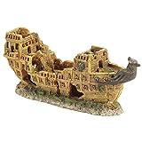 Pet Ting Verlassenes Schiff, Aquarium, Dekoration versenktes Boot, Schiffswrack, 25 cm
