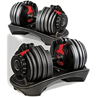 Atlas Adjustable Dumbbells Set 2-24kg Selectable Dial 15 Different Weights Home Gym Fitness Training (Pair)