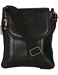 Margaux Black Genuine Leather Sling Bag For Unisex