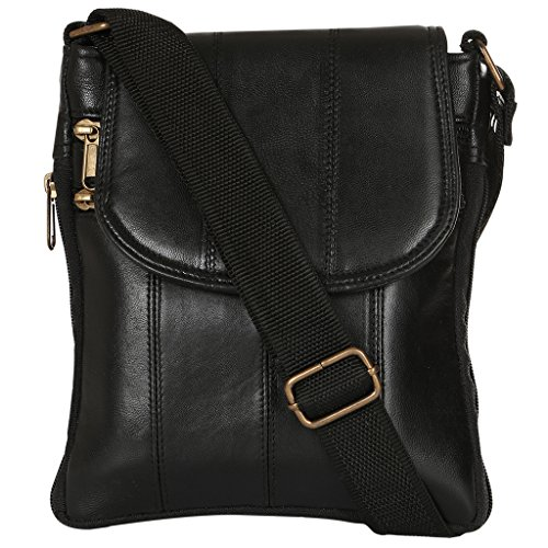 Margaux Black Genuine Leather Sling Bag For Unisex