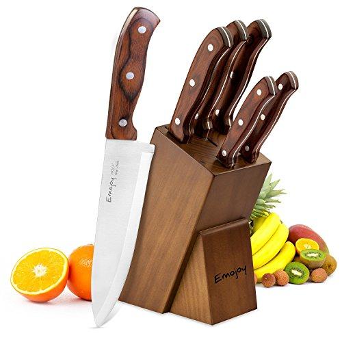 Messerblock, Emojoy Messerblock Set, Profi 6-teiliges Messer Set, Kochmesser, Küchenmesser Set mit ergonomischem Holzgriff und einem Massivholzblock, Allzweck, Rostfreier Spezialstahl, Extra Scharf und Feststehend