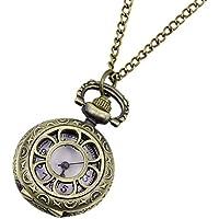 SODIAL(R) Orologio da tasca cassa tono bronzo fiore per donna
