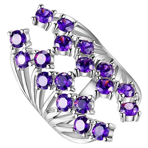 Hmilydyk Femme Luxe Bague de cristal de Swarovski Violet Naturel garni de pierre précieuse Bague plaqué or blanc Bande