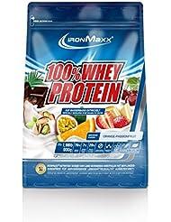 IronMaxx 100% Whey Protein Pulver / Proteinreiches Eiweißpulver / Wasserlösliches Proteinpulver mit Orange-Maracuja Geschmack / 1 x 900 g Beutel