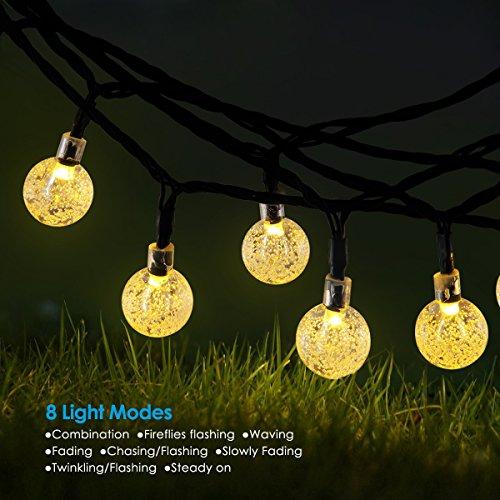 Amir Solar String Lights, (8 Modes, 30 balls) Solar Crystal Ball String Lights, Indoor Outdoor Globe Fairy String Lights Starry Lights, for Easter, Waterproof Ambiance Lightin