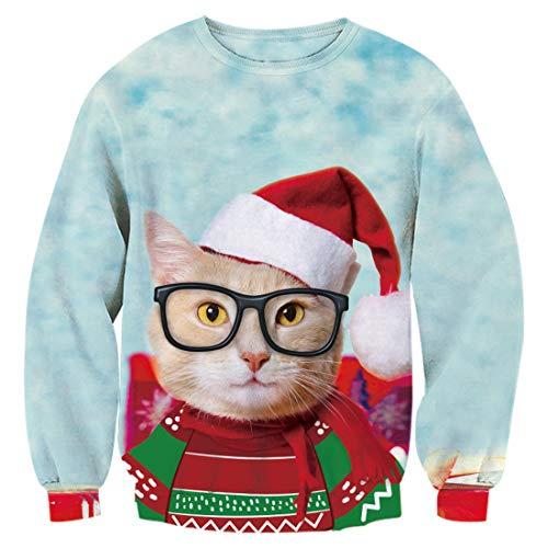 Idgreatim Unsiex hässliche Weihnachten Sweater Christmas Sweatshirt Behaarte Brust 3D Print Neuheit Weihnachten Elf Langarm Pullover Shirts S
