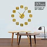 Guokee Social Media Symbole DIY Wandkunst Riesen Wanduhr Büro College Wohnheim Dekor 3D Frameless Icons Wanduhr Geschenke für Jugendliche Gold 37 Zoll