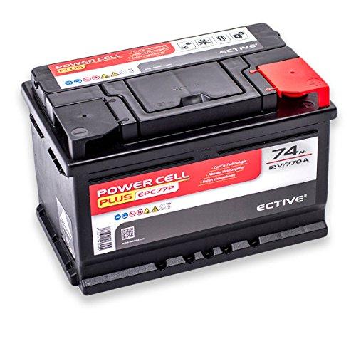 ECTIVE EPC PLUS-Serie | 12V Autobatterie | 8 Varianten: 47Ah - 105Ah | Inkl. 7,50 EUR Batteriepfand | 12 V Starterbatterie, KFZ-Batterie