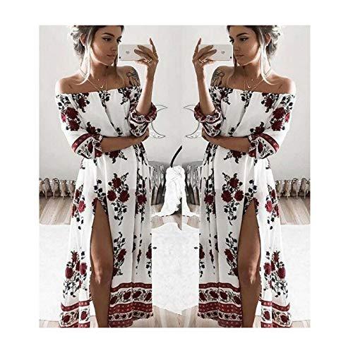 Boho Style Long Dress Women Off Shoulder Beach Summer Printed Floral Maxi Dress White XL Jovani Homecoming
