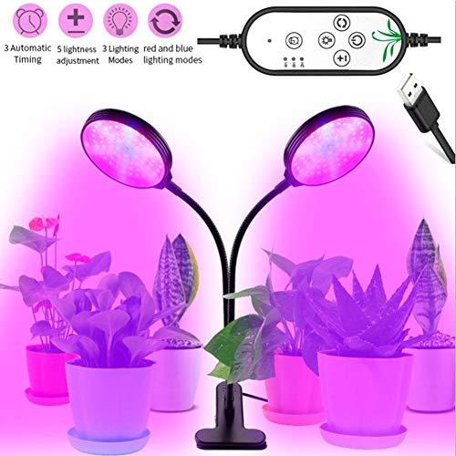 mooderff Pflanzenlampe, Pflanzenlicht Mit Upgraded Automatische Zeitschaltuhr, 30W Rot Blau Dimmbar Schwanenhals UV Grow Led Wachsen Licht Pflanzenleuchte Wachstumslampe Lampe Für Bonsais Pflanzen