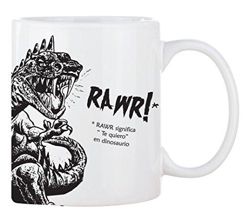 Taza mug desayuno de porcelana blanca 30 cl. Modelo Dinosaurio