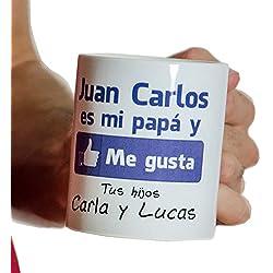 Regalo para padres por su cumpleaños, Navidad o el Día del Padre: taza personalizada 'Me gusta' con su nombre y el de sus hijos (Taza 'Me gusta mi papá')