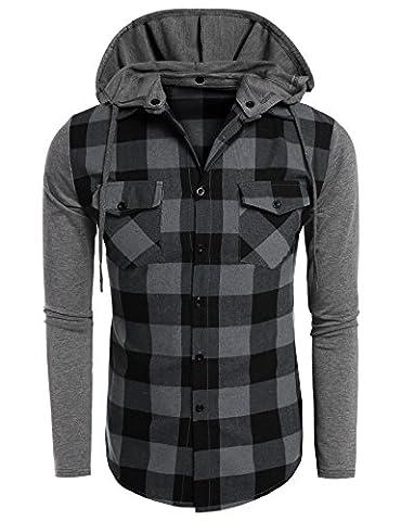 Coofandy Casual Plaid Long Sleeve T Shirts Hooded Sweatshirt Pullover