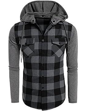 Coofandy Camicia con Cappuccio Removibile Manica Lunga con Tasche di Uomo