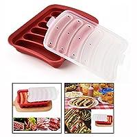 OFKPO Food Grade Silicone DIY Sausage Making Mold ,Handmade Hot Dogs Ham Maker (Red)